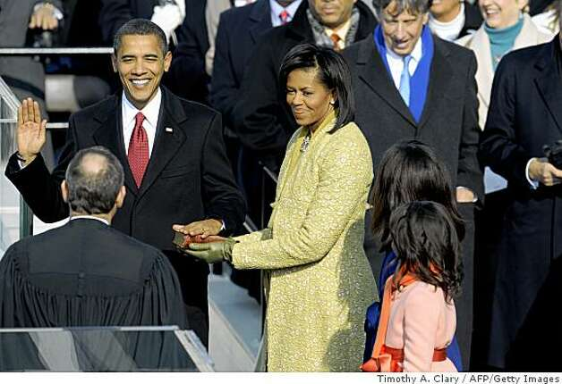 Barack Obama is sworn in as the 44th US president by Supreme Court Chief Justice John Roberts. Photo: Timothy A. Clary, AFP/Getty Images