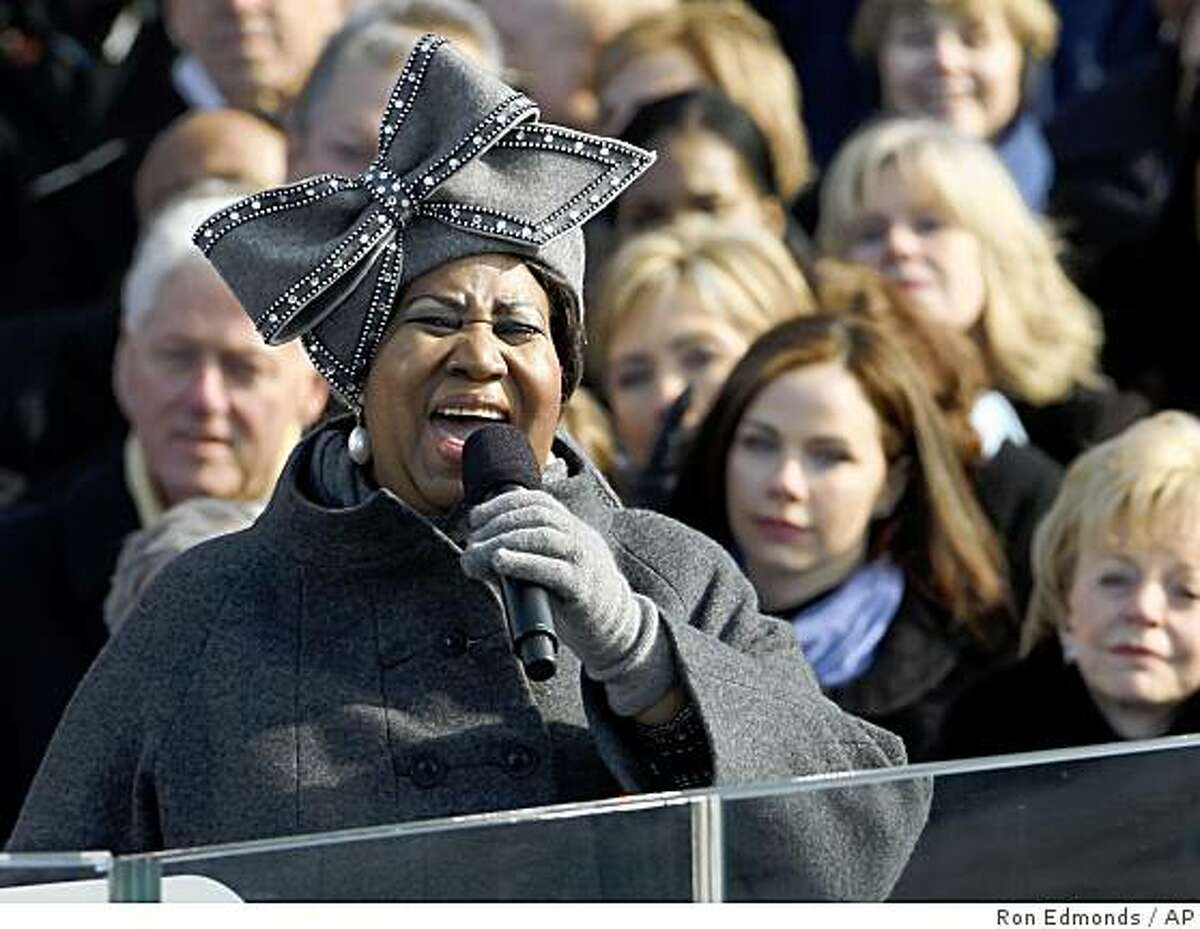 Aretha Franklin performs at the swearing-in ceremony.