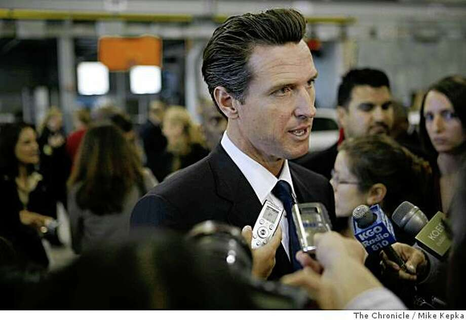 In front of a crowd of city employees and press, San Francisco Mayor, Gavin Newsom addresses his new budget plan in the San Francisco Police Department Tactical Operations center located in Hunters Point Shipyard on Monday, June 1, 2008, in San Francisco,Calif. Photo: Mike Kepka, The Chronicle