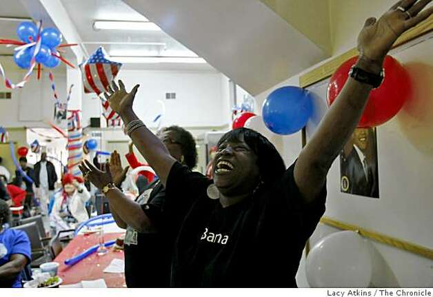 Cheron Romes cheers after President Obama is sworn in during the inauguration, Tuesday Jan. 20, 2009, at the Bayview Hunters Point Senior Center in San Francisco, Calif. Photo: Lacy Atkins, The Chronicle