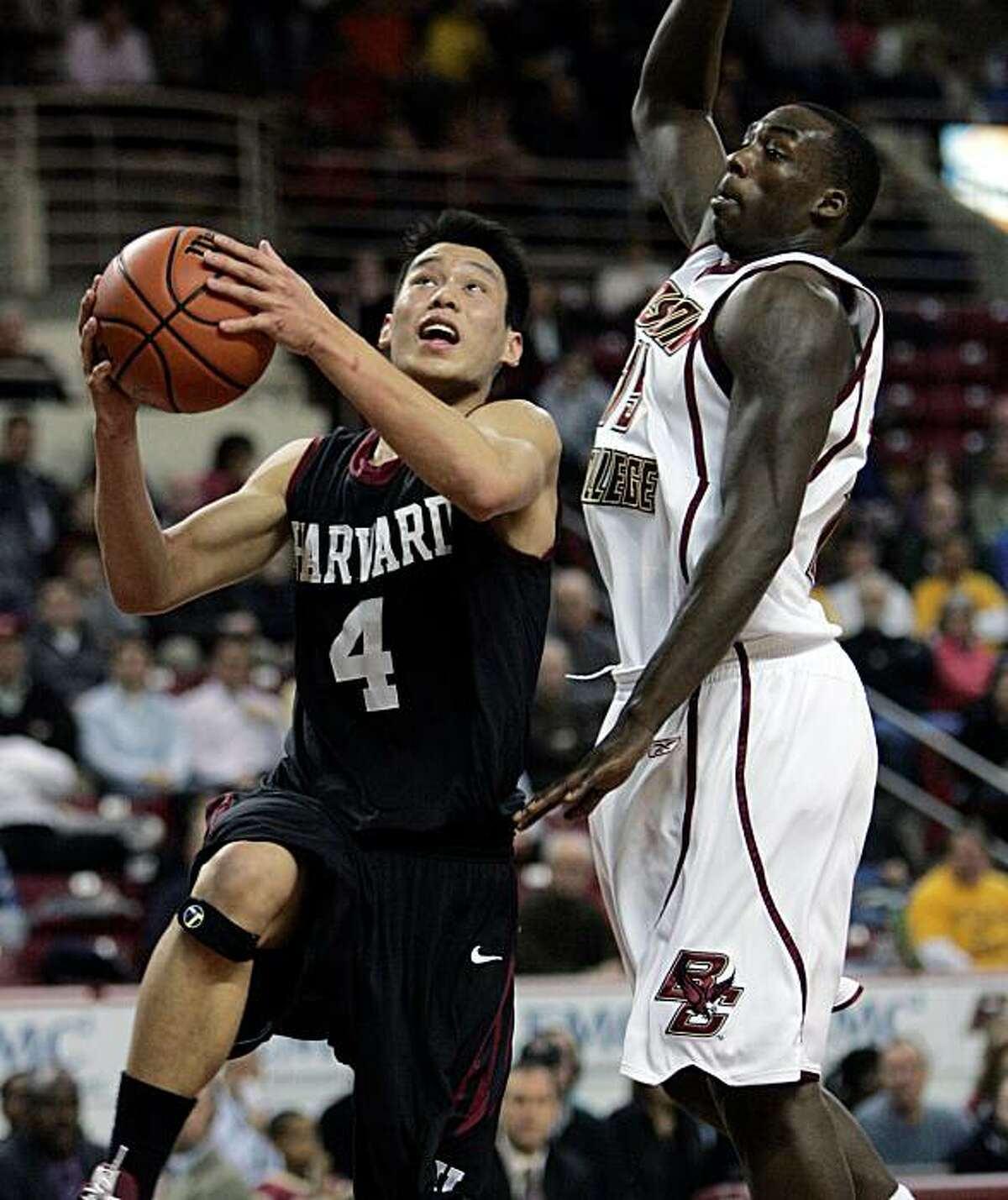 Harvard's Jeremy Lin (4) drives for the basket in front of Boston College's Rakim Sanders in the first half of an NCAA college basketball game on Jan. 7 in Boston.