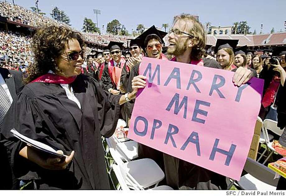 Global media leader and international philanthropist Oprah Winfrey greets Karl Pichotha after she gave the keynote speech at the 107th Stanford University Commencement ceremonies June 15, 2008 at Stanford University.  (Photograph by David Paul Morris / The Chronicle Photo: David Paul Morris, SFC