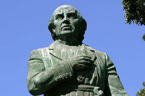 A statue of Don Miguel Hidalgo y Costilla, who is credited for starting the Mexican revolution, stands in San Francisco's Dolores Park.