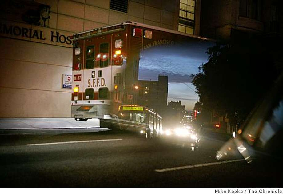 A dynamically deployed San Francisco ambulance is parked outside St. Francis Memorial Hospital while a patient is admitted to the ER on Dec. 12 ,2008 in San Francisco, Calif. Photo: Mike Kepka, The Chronicle