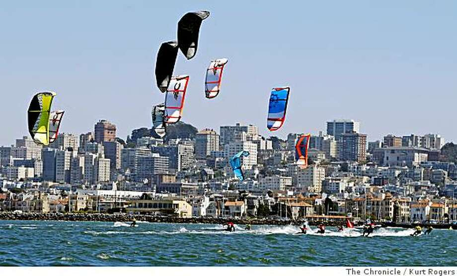 The first race of  the six daylong Kiteboard racing Championships in the bay off Crissy Field.  on Tuesday, June 10,  2008 in San Francisco , Calif  Photo by Kurt Rogers / The Chronicle. Photo: Kurt Rogers, The Chronicle