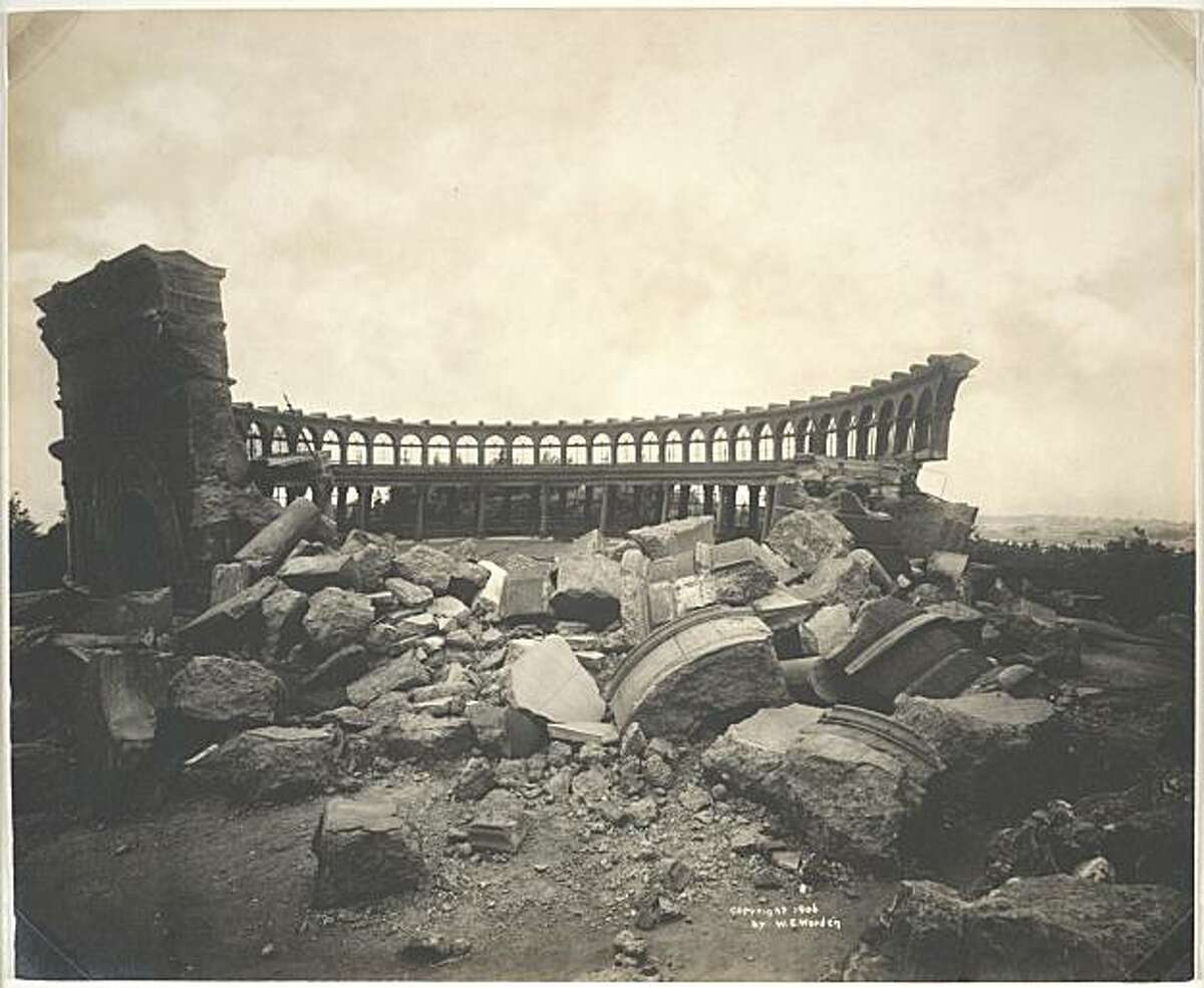 The observatory lies in ruins at Golden Gate Park in San Francisco in 1906.
