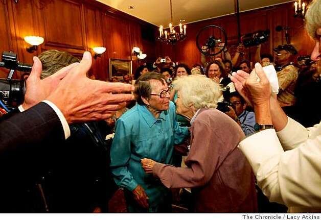 After 55 years Phyllis Lyon and  Del Martin  are married by Mayor Gavin Newson, Monday June 16, 2008, in San Francisco, Calif. Lacy Atkins /The San Francisco Chronicle Photo: Lacy Atkins, The Chronicle