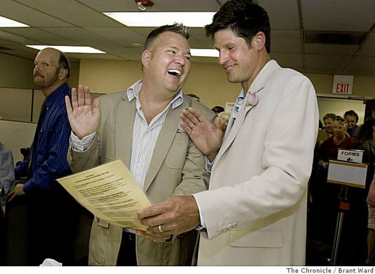 Same Sex marriage kicks off in Sonoma County with the wedding of Chris Lechman and Mark Gren at the Sonoma County clerks office in Santa Rosa Monday June 16, 2008. photo by Brant Ward / The Chronicle