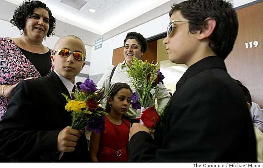 Omar, Hind and Hady join their mom's Deanna and Huda Jadallah-Karraa, of Oakland, as they wait to get married in Oakland, Calif. on Monday, June 17, 2008.  The two have been together for 17 years.  Photo By Michael Macor/ The Chronicle Photo: Michael Macor, The Chronicle