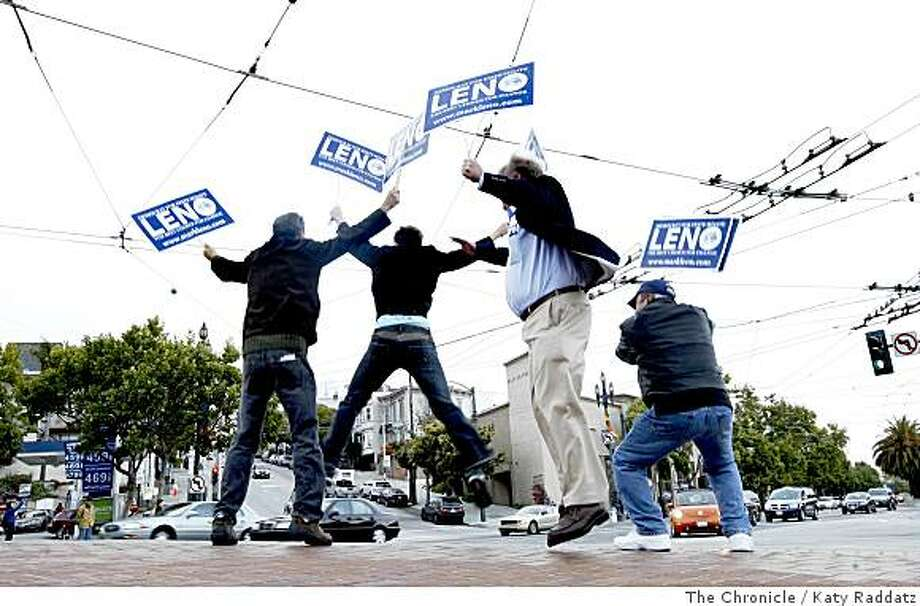 Mark Leno's campaign volunteers  at the corner of Castro and Market streets to help get out the vote right up until the polls close.Photo by Katy Raddatz / The Chronicle Photo: Katy Raddatz, The Chronicle