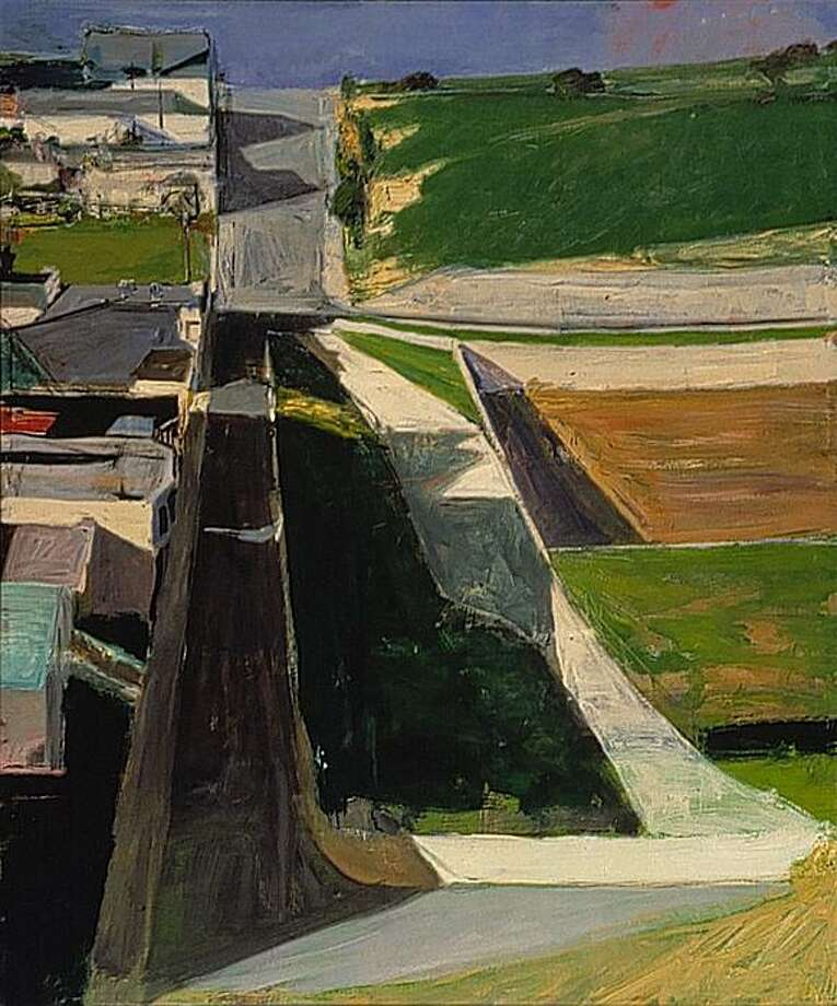 Richard Diebenkorn, Cityscape I (formerly Landscape I), 1963; oil on canvas; 60 1/4 in. x 50 1/2 in.; Collection SFMOMA, Purchased with funds from Trustees and friends in memory of Hector Escobosa, Brayton Wilbur, and J. D. Zellerbach. Photo: Estate Of Richard Diebenkorn, Collection, SFMOMA