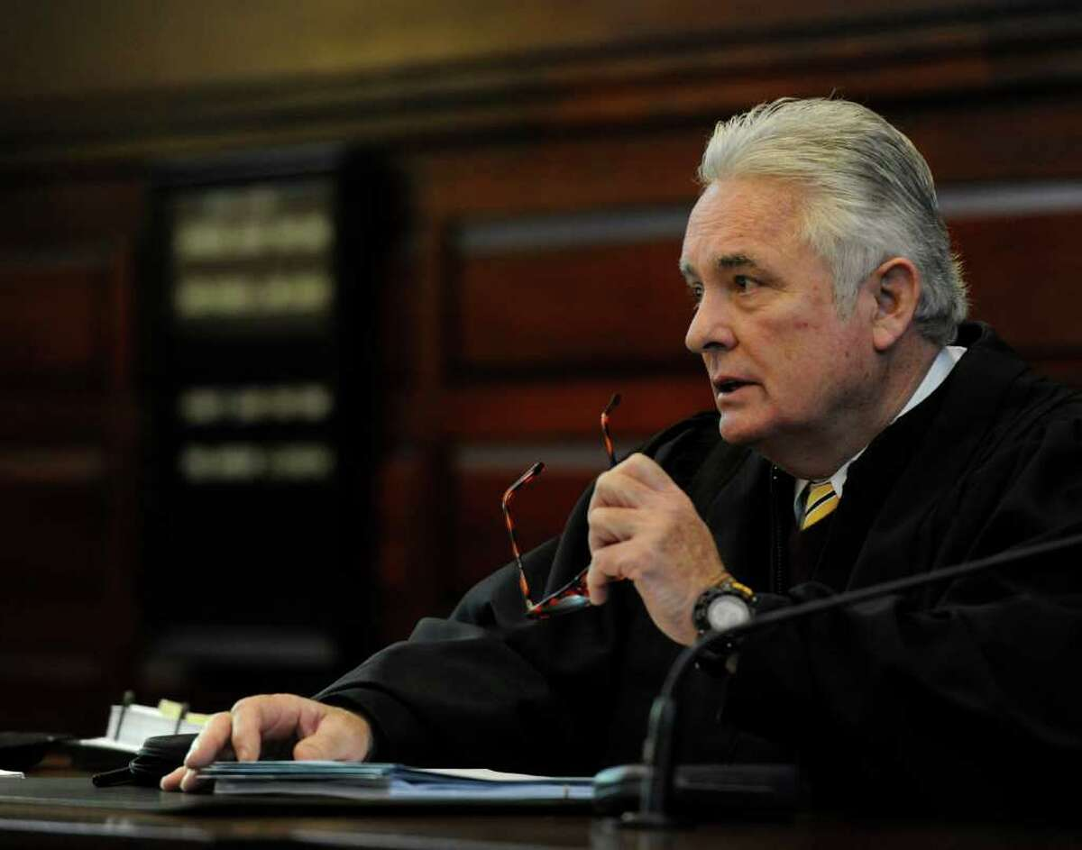 Judge George Pulver sits on the bench in the ballot fraud case which is going on in Rensselaer County Court in Troy, New York Jan 11, 2012. (Skip Dickstein / Times Union)