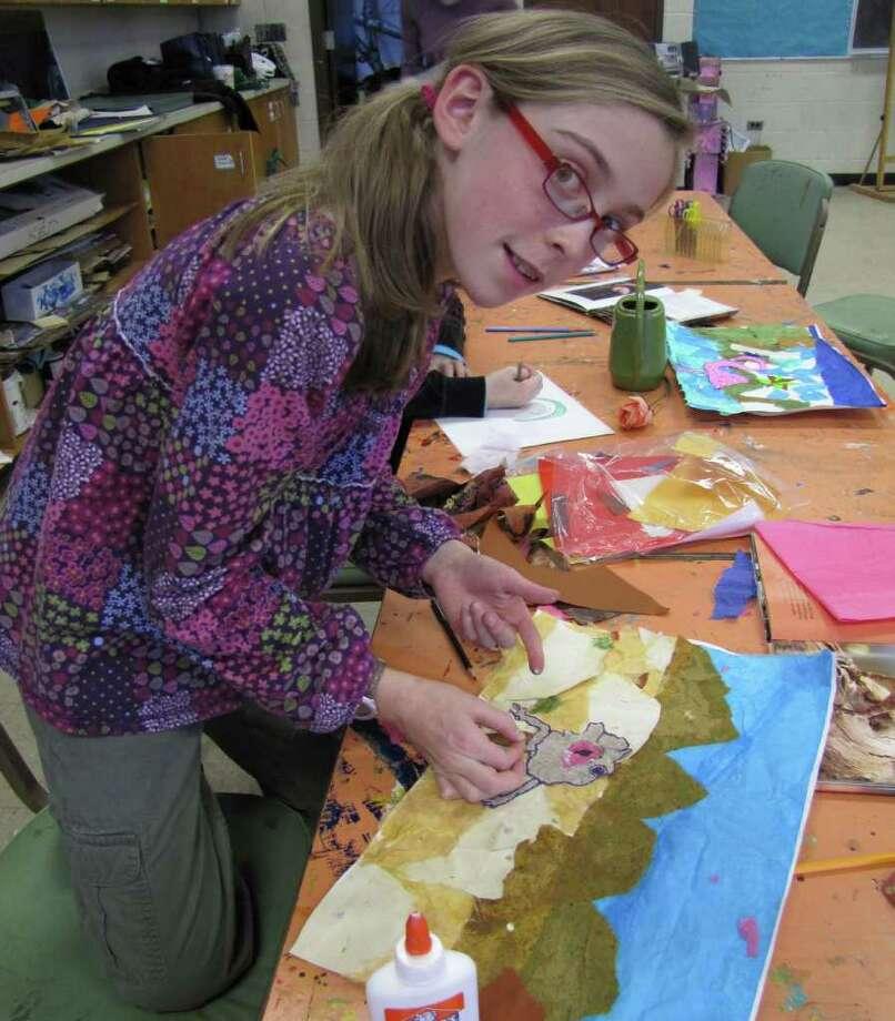 Amanda Lovegrove in art class at the Darien Arts Center. Photo: Contributed Photo