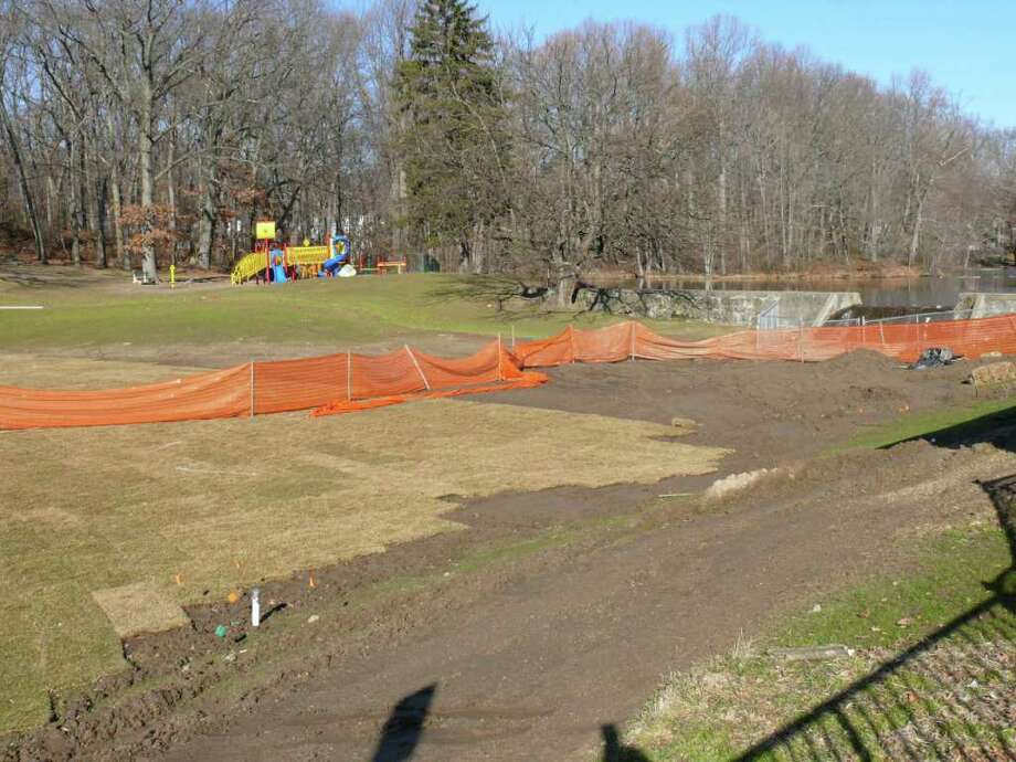 Town officials hope that work on the two Little League fields at Gould Manor Park will be finished in time for play to begin in the summer. Photo: Genevieve Reilly / Fairfield Citizen