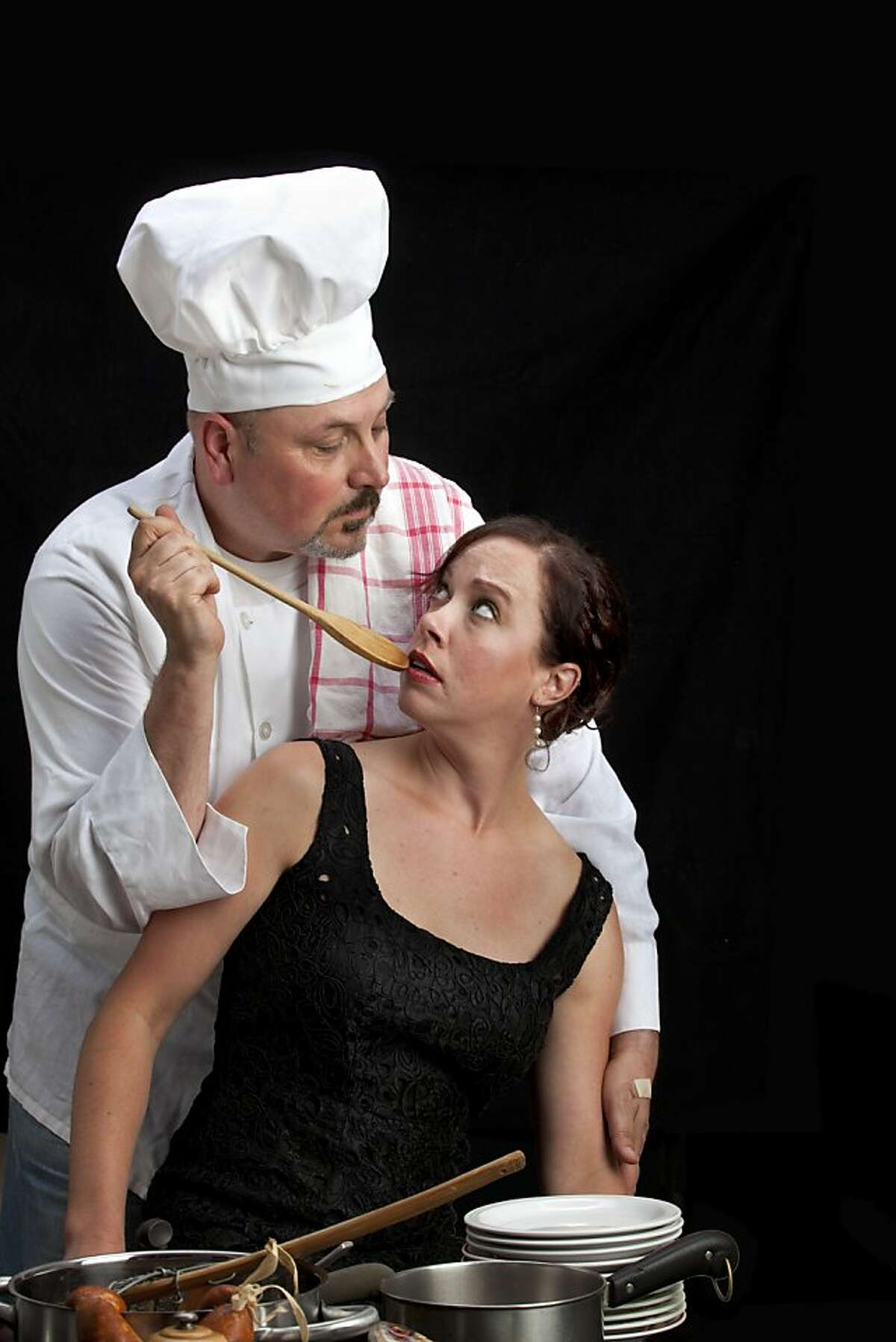 """Soren Oliver is chef Albert in """"Sorry Fugu,"""" a story by T.C. Boyle performed in Word for Word's """"Food Stories: Pleasure Is Pleasure"""" at Theater Artaud."""