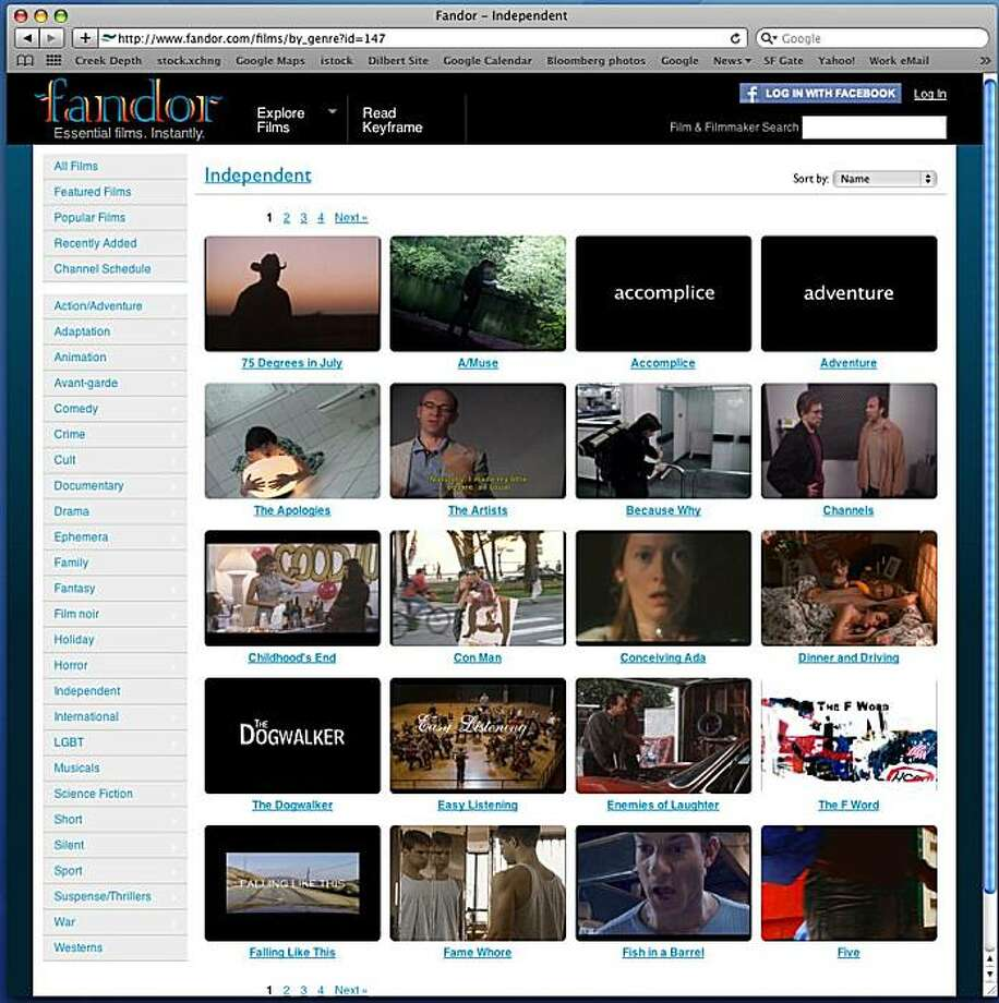 Screen shot of fandor.com, a San Francisco startup site that hopes to become the Netflix of independent films. Photo: Fandor.com