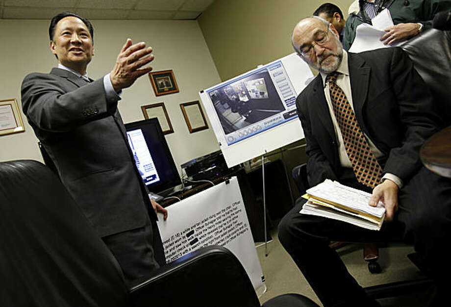 "Jeff Adachi (left) and attorney Scott Sugarman (right seated) say the police ""framed an innocent man."" San Francisco Public Defender Jeff Adachi revealed another case involving officers from Southern Station where video contradicts police reports Monday March 7, 2011. Photo: Brant Ward, The Chronicle"