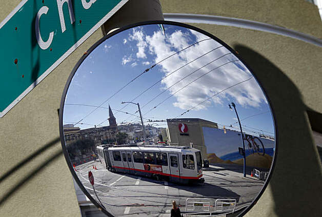 A large mirror at the corner of Church and Duboce Streets in San Francisco, Calif., is meant to give train drivers a better view at a difficult corner. Violations found in the MUNI light rail system are among the worst train violations in the state, says the Public Utilities Commission Monday February 28, 2011. Photo: Brant Ward, The Chronicle