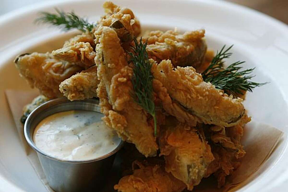 Fried pickles are available by request at Norman Rose Tavern in Napa.