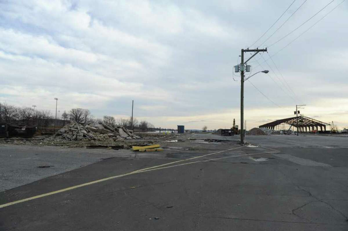 Debris is all that remains since the structures at the boatyard were recently demolished, Stamford, Conn., January 11, 2012.