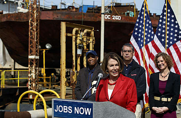 House Minority Leader Nancy Pelosi comments after touring the dry dock and shipyard at Pier 70 in San Francisco on Saturday. Photo: Paul Chinn, The Chronicle