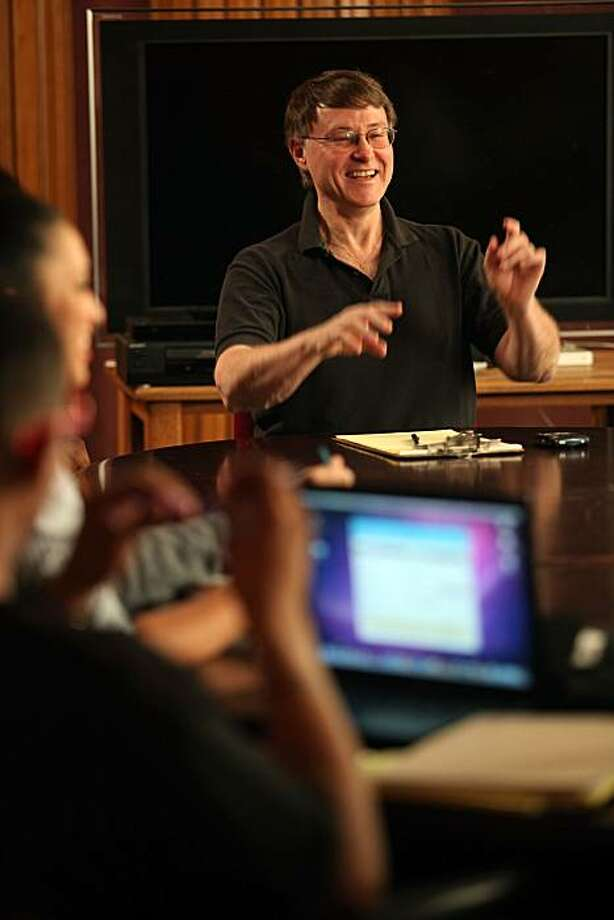 Chief executive officer Patrick Kriwanek instructing students in his producing/directing class at the Berkeley Digital Film Institute in Berkeley, Calif., on Monday, February 14, 2011. Photo: Liz Hafalia, The Chronicle