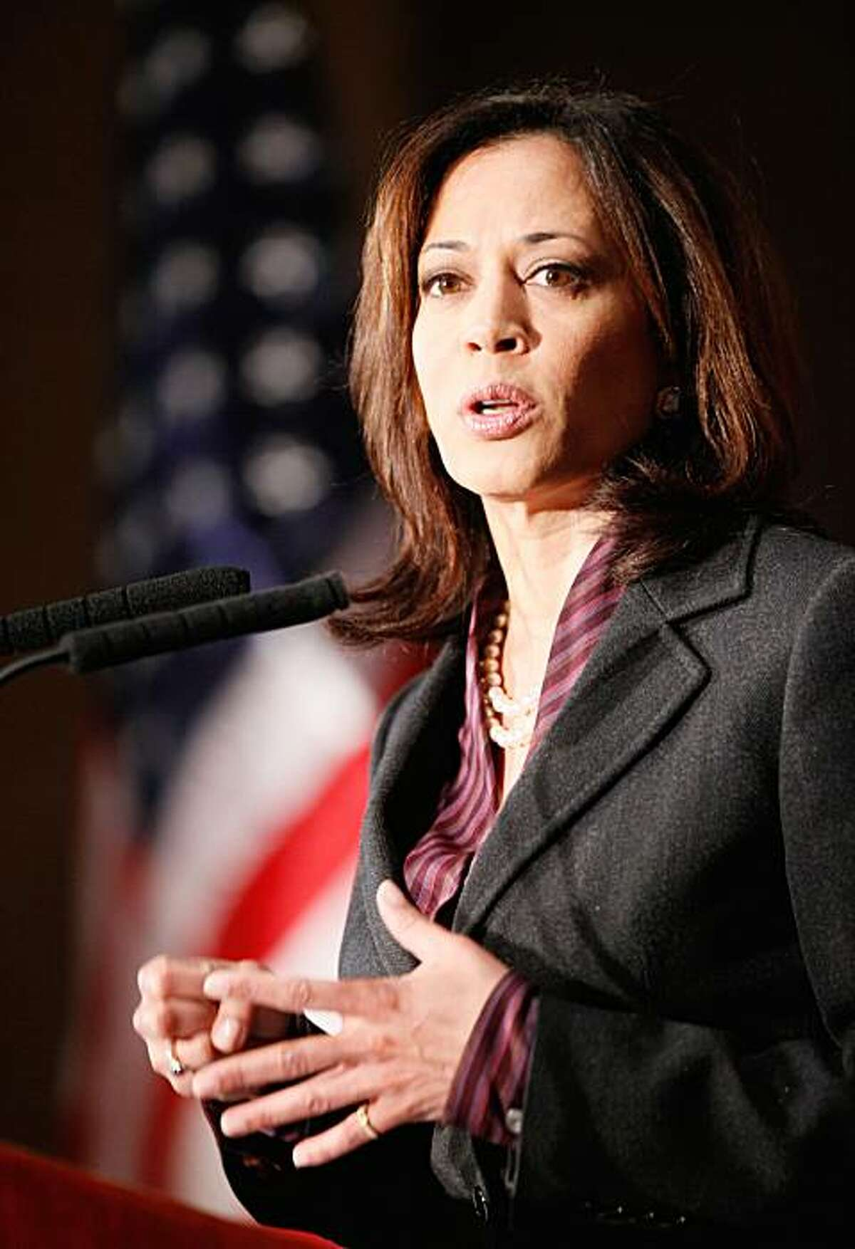 California's newly elected attorney general KamalaHarris gives her first news conference in Los Angeles on Tuesday, Nov. 30, 2010. Republican Steve Cooley conceded the California attorney general's race to Democrat Harris last week, giving Democrats a sweep of all statewide offices and ushering in the first woman and first minority elected to the post.