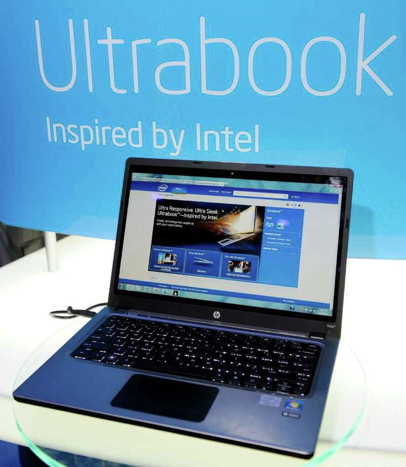LAS VEGAS, NV - JANUARY 10:  An HP Ultrabook on display at the Intel booth at the 2012 International Consumer Electronics Show at the Las Vegas Convention Center January 10, 2012 in Las Vegas, Nevada. CES, the world's largest annual consumer technology trade show, runs through January 13 and is expected to feature 2,700 exhibitors showing off their latest products and services to about 140,000 attendees. Photo: David Becker, Getty Images / 2012 Getty Images