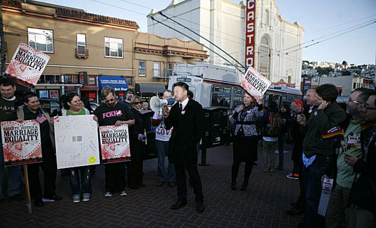 Lt. Dan Choi addresses the crowd gathered at the corner of Castro St. and Market St. in celebration of the US Justice department's decision to drop its defense of the federal Defense of Marriage Act on Wednesday, February 23, 2011.