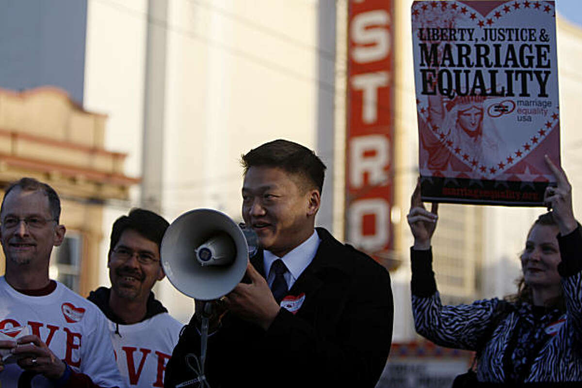 Lt. Dan Choi speaks at the celebration of the US Justice department's decision to drop its defense of the federal Defense of Marriage Act on Wednesday February 23, 2011.