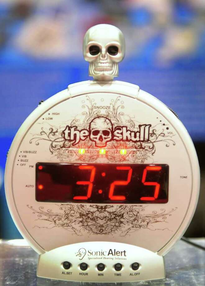 The Skull Sonic Alert, touted as as extra loud alarm clock with MP3 music input for MP3 and iPod is displayed on the opening day of the International Consumer Electronics Show on January 10, 2012 in Las Vegas, Nevada. The show kicked off with a dazzling array of high-tech gadgetry including ultra-thin laptops, snazzy smartphones, iPad rivals and flat-screen and 3D TVs with a record 3,100 companies from around the world displaying their goods over a space equivalent to more than 35 football fields in the cavernous Las Vegas Convention Center for the four-day event. AFP PHOTO / Frederic J. BROWN Photo: FREDERIC J. BROWN, AFP/Getty Images / 2012 AFP