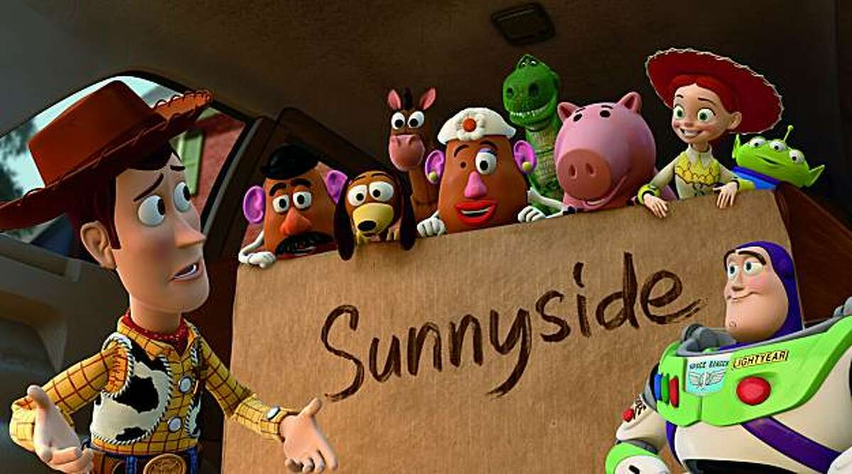 Woody, Mr. Potato Head. Slinky Dog, Bullseye, Mrs. Potato Head, Rex, Hamm, Jessie, Buzz Lightyear.,