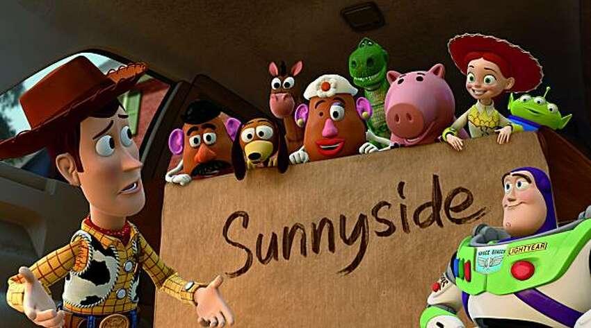 Woody, Mr. Potato Head. Slinky Dog, Bullseye, Mrs. Potato Head, Rex, Hamm, Jessie, Buzz Lightyear.,
