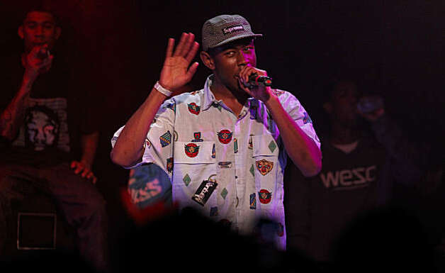Tyler the Creator, entertains the crowd, as Odd Future Wolf Gang Kill Them All, a hip-hop collective of artists from Los Angeles, play Slim's nightclub, in  San Francisco, Ca., on Tuesday Feb. 22, 2011. Made up of a bunch of teenagers they are notorious for rapping offensive subjects and having an assaulting sound. Photo: Michael Macor, The Chronicle
