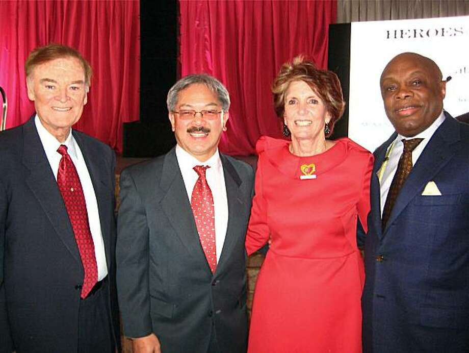 Former mayor Frank Jordan (at left) with Mayor Ed Lee, Judy Guggenhime and Da Mayor Willie Brown. Feb. 2011. By Catherine Bigelow. Photo: Catherine Bigelow, Special To The Chronicle