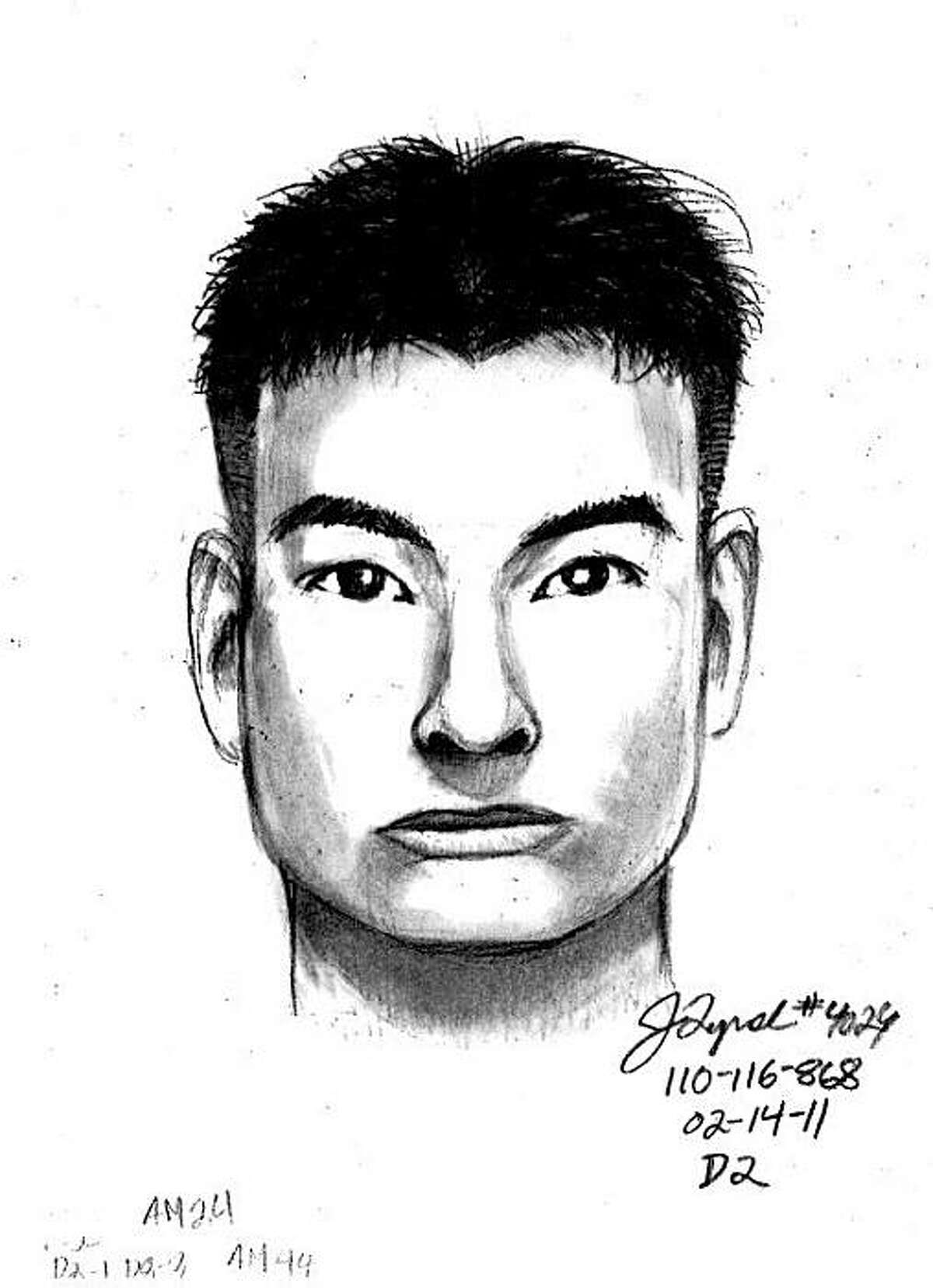 Police sketch of a man wanted for questioning in the Feb. 7 killing of 16-year-old Victor Zheng in San Francisco. .