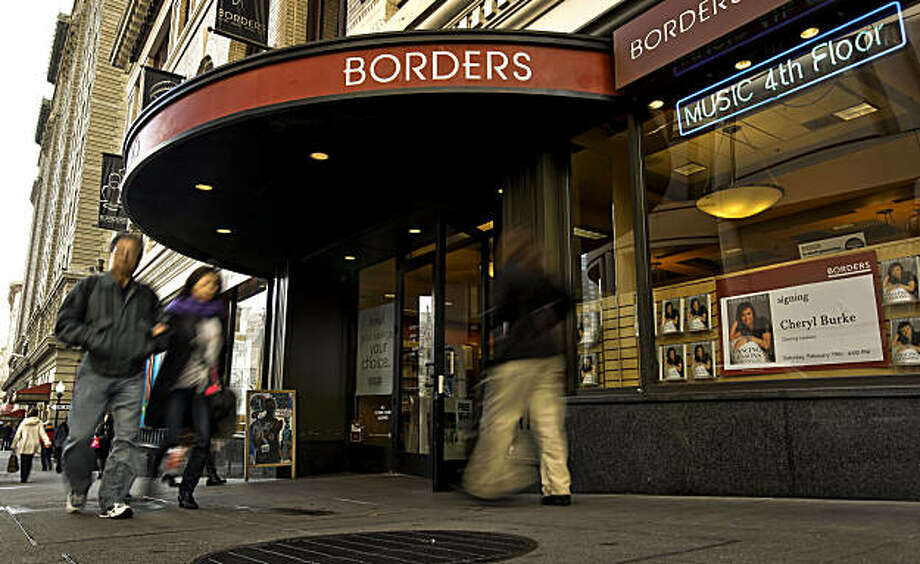 Borders Bookstore, on Wednesday Feb. 16, 2011, has filed for bankruptcy protection and is closing 14 stores in the Bay Area, including the Union Square store, in San Francisco, Ca., here at the corner of Post and Powell Streets. Photo: Michael Macor, The Chronicle