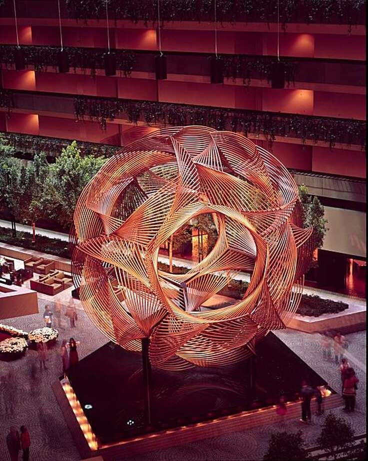 Eclipse, in the atrium of the Hyatt Regency, is the Bay Area's best-known sculpture by artist Charles O. Perry. Photo: Jeremiah Bragstad, SEE NOTES