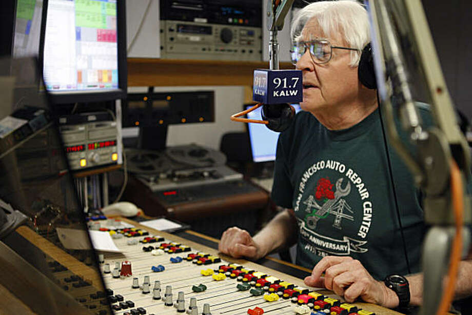 Alan Farley speaks into his microphone during his radio program at the  KALW studios in San Francisco Calif, on Thursday, Feb. 17, 2011. Farley has worked at KALW for 35 years. Photo: Alex Washburn, The Chronicle