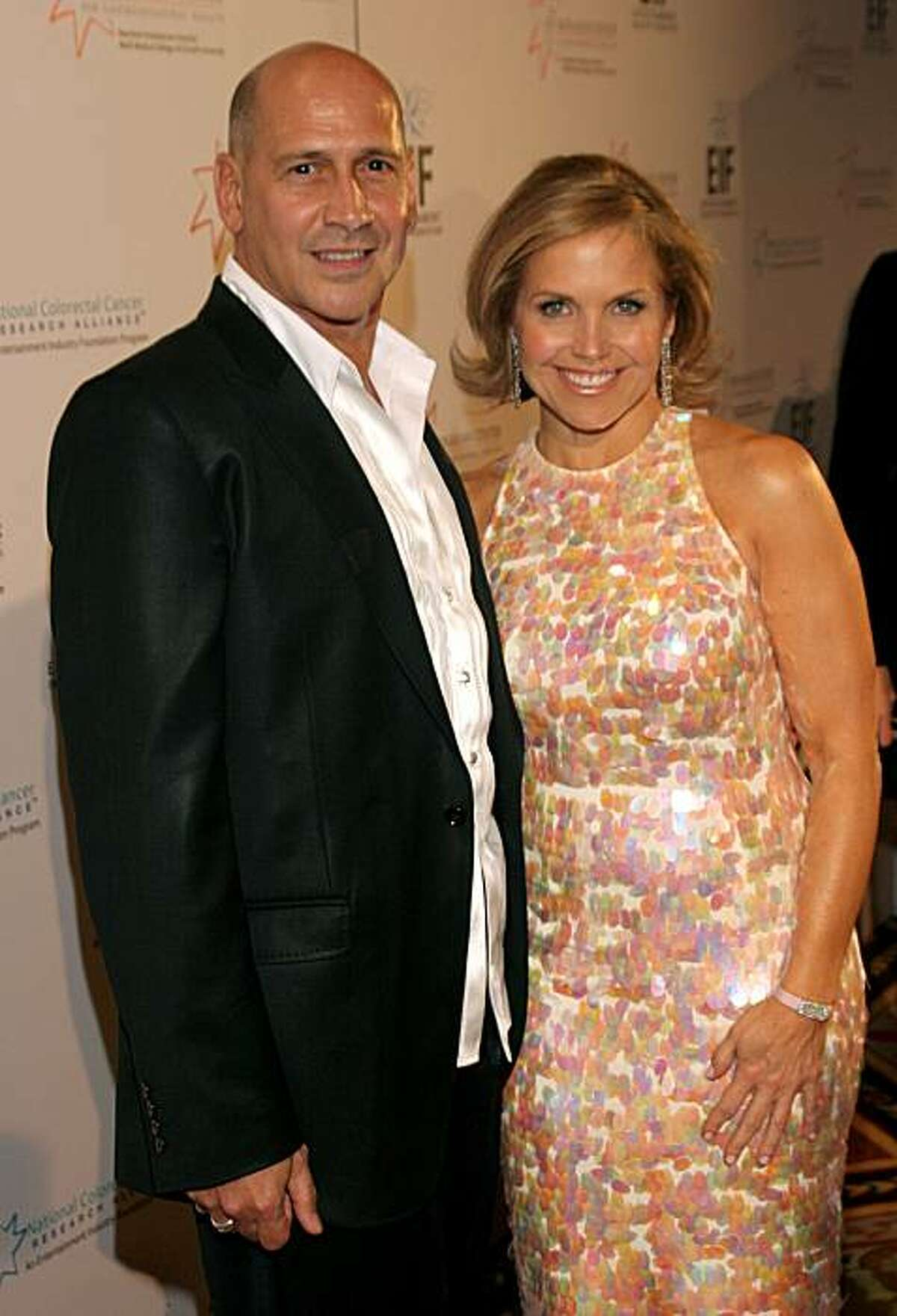 Carmen Marc Valvo and Katie Couric at the Entertainment Industry Foundation