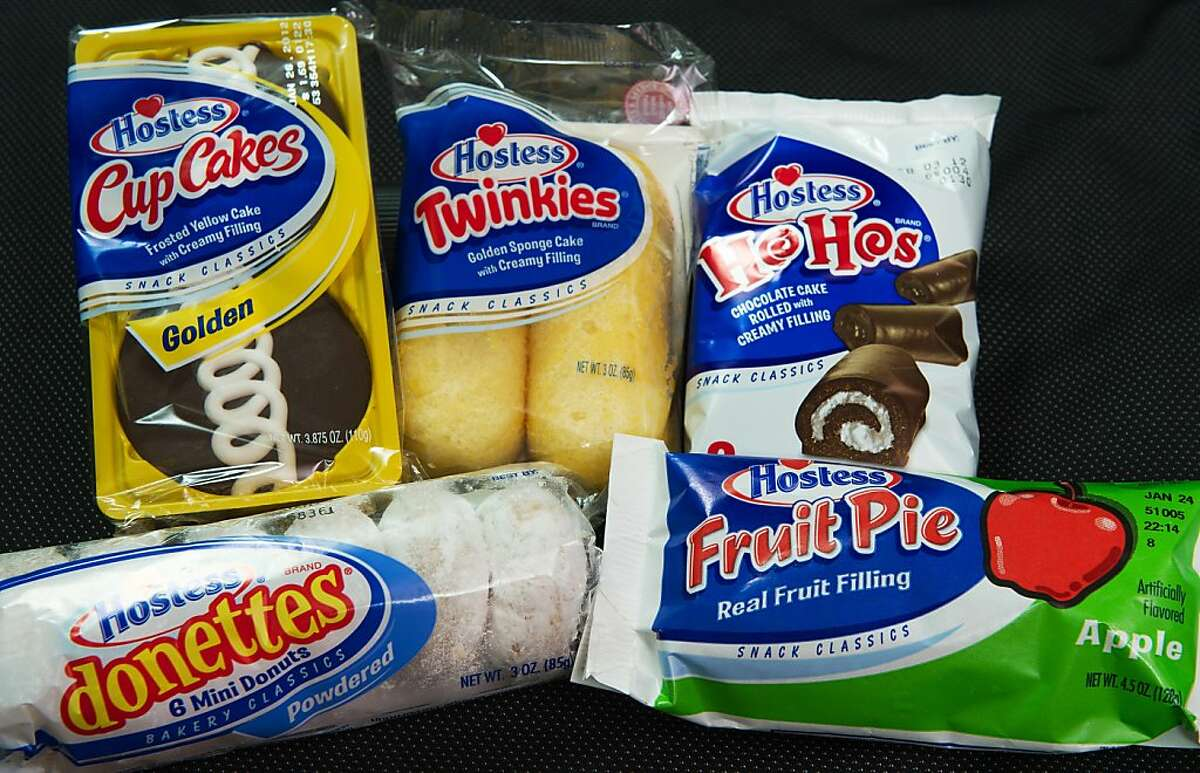 A photo of Hostess snacks, made by Interstate Brands is viewed on January 11, 2012 in Washington,DC. Hostess Brands, the baker of Twinkie cakes and other iconic American foods, filed for bankruptcy protection Wednesday after failing to win concessions on union contracts. Founded in 1930, Hostess owns brands that were emblematic of American food for generations. Its popular Twinkie, a snack cake with a creamy filling, was launched that year. The company claims its Wonder bread, a vitamin-enriched sliced bread, was the first 100 percent natural bread available across the United States. AFP Photo/Paul J. Richards (Photo credit should read PAUL J. RICHARDS/AFP/Getty Images)