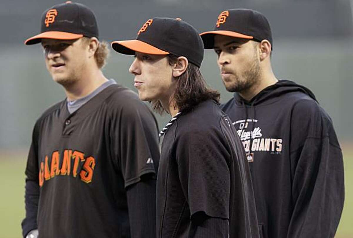 San Francisco Giants starting pitchers, from left, Matt Cain, Tim Lincecum, and Jonathan Sanchez stand together during practice in San Francisco, Wednesday, Oct. 6, 2010. The Atlanta Braves face the San Francisco Giants in Game 1 of the National LeagueDivision Series on Thursday.