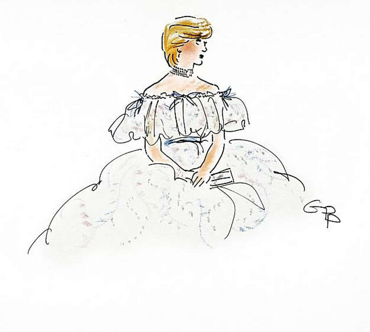 The late Princess Diana, as imagined by fashion illustrator Gladys Perint Palmer, in an illustration done for Princess Diana drawn for The New Yorker, September 1997, days after her death. The dress Perint Palmer drew her in is by Zandra Rhodes. Palmer, who is the executive director of the Academy of Art University's school of fashion, was selected to create promotional images for Mercedes-Benz Fashion Week in February 2011.