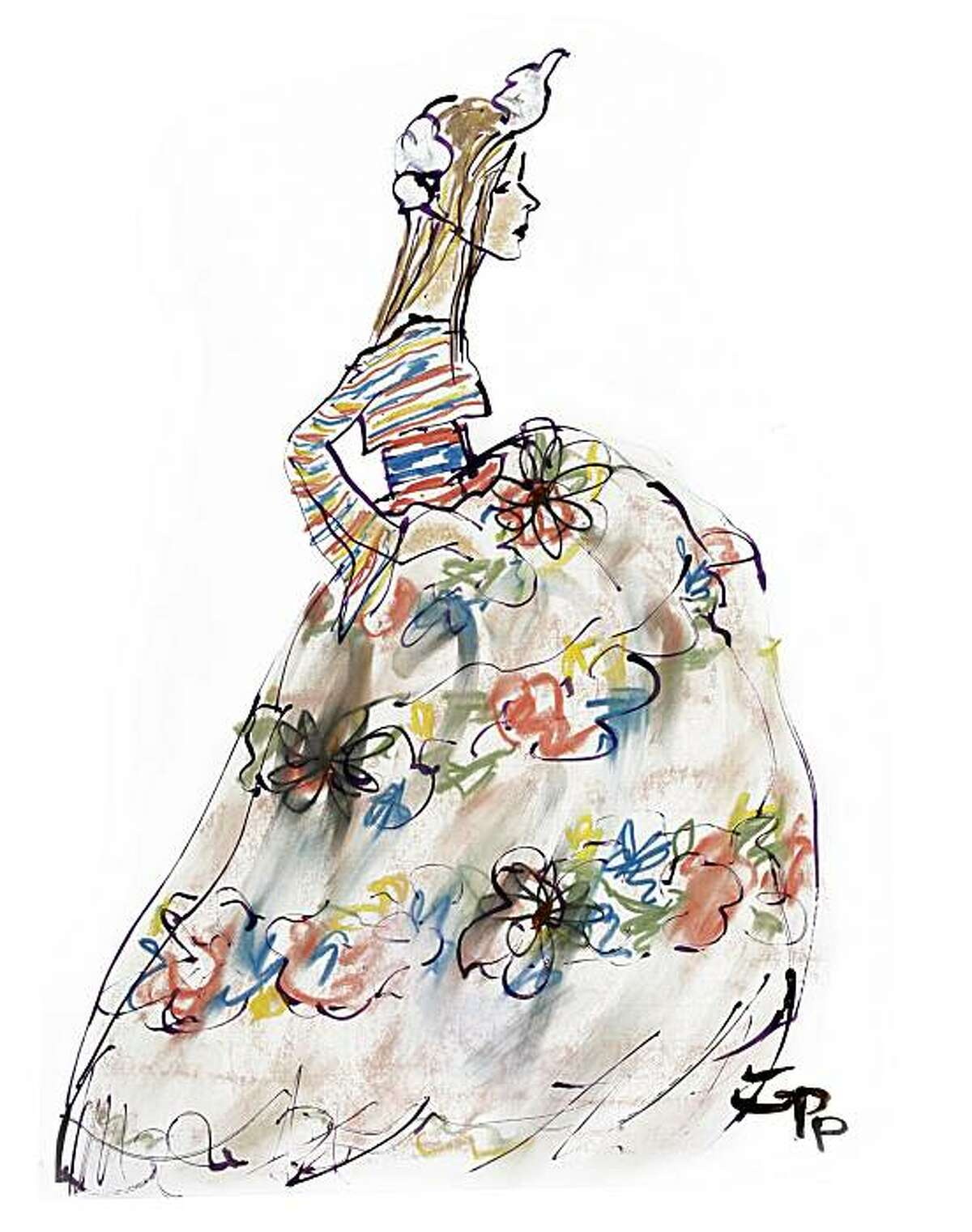 Actress Rita Wilson in a Jean Paul Gaultier gown, an illustration dreamed up by fashion illustrator Gladys Perint Palmer after spotting Wilson chatting with Gaultier at a Paris fashion event. Palmer, who is the executive director of the Academy of Art University's school of fashion, was selected to createpromotional images for Mercedes-Benz Fashion Week in February 2011.