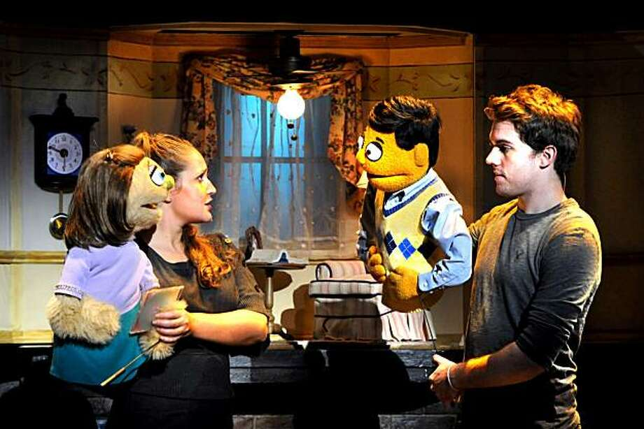"""Kate Monster (left, with Jacqueline Grabois) gets together for a romantic evening with Princeton (held by Brent Michael DiRoma)  in """"Avenue Q"""" Photo: John Daughtry"""