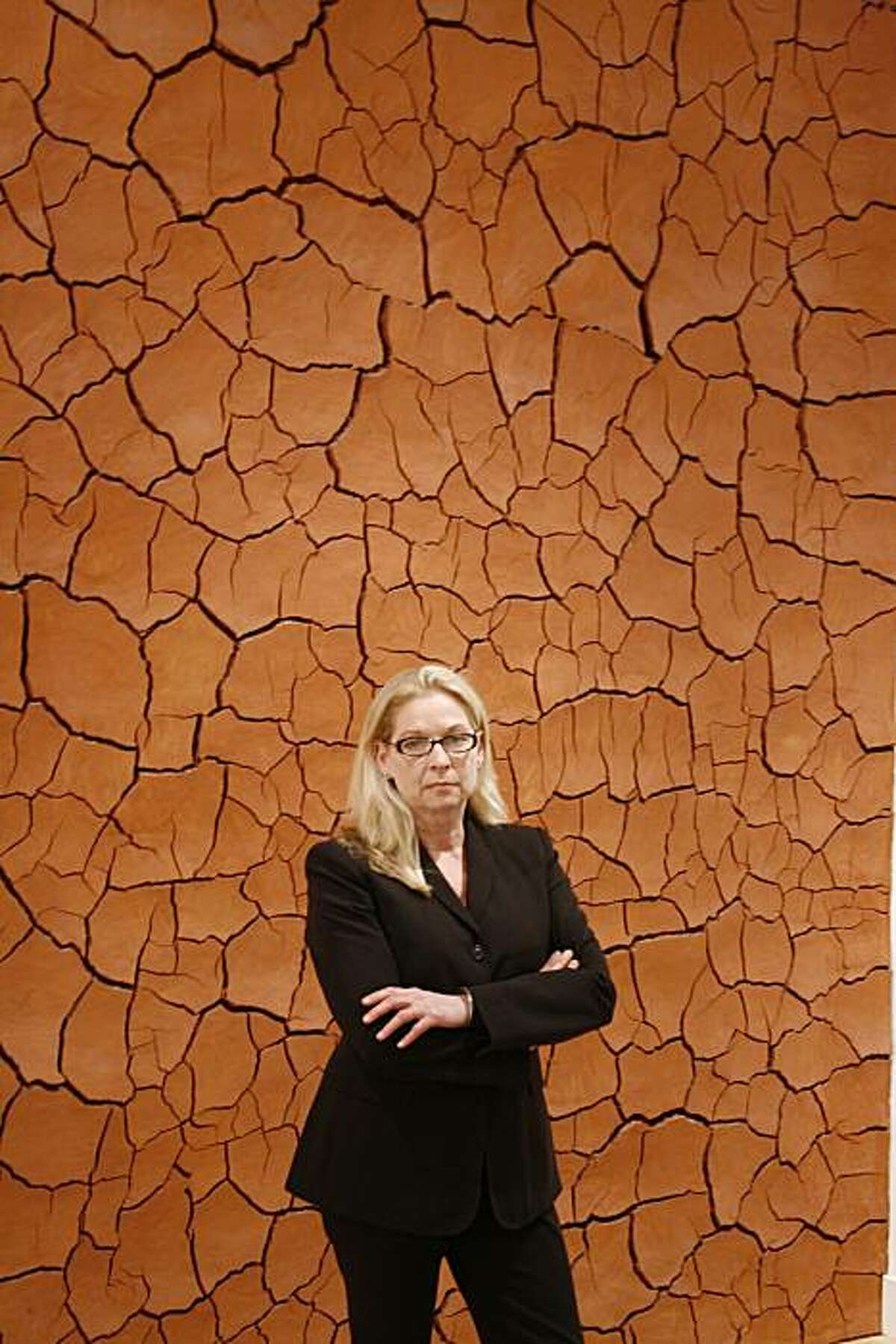 Cheryl Haines, Director of Haines Gallery in San Francisco, in front of the galleries permanent installation of Andy Goldsworthyís Clay Wall, installed in 1996. Photo by Monique Deschaines, 2010.
