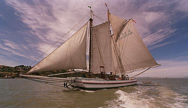 The Alma under sail as she heads into the delta