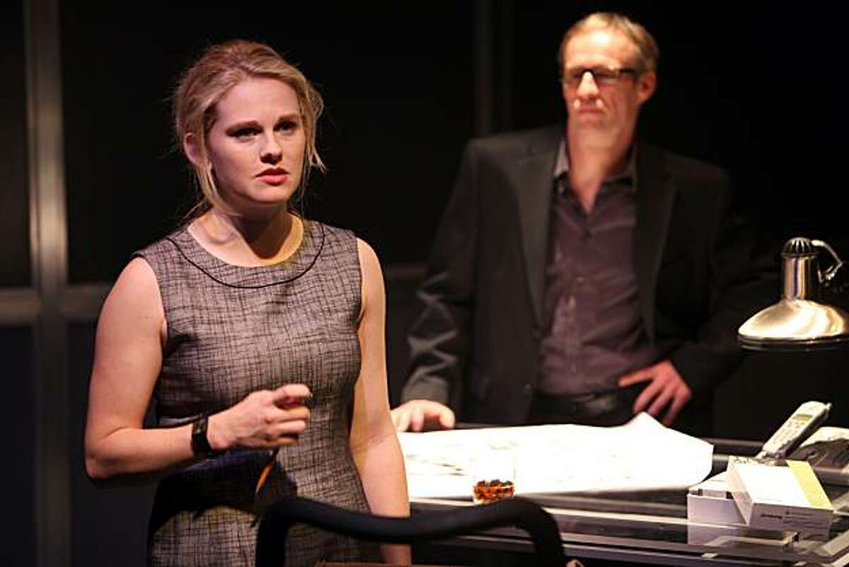 Eliza (Sarah Nealis) complains to Ben (Rod Gnapp) about being overlooked at the architectural firm in the Magic Theatre world premiere of Theresa Rebeck's