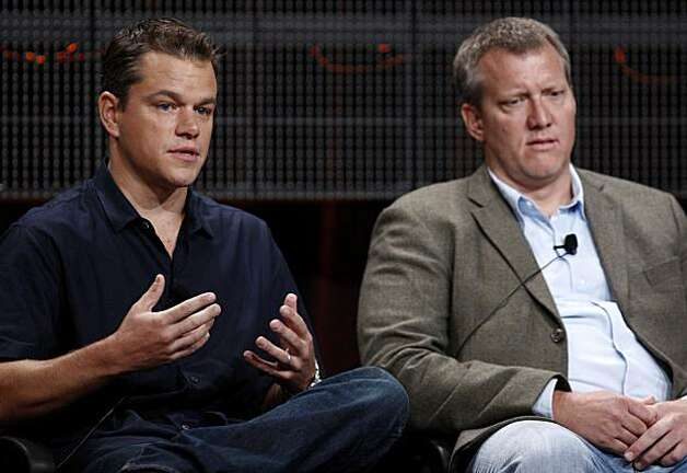 "Matt Damon, performer and executive producer of the film ""The People Speak"", speaks as executive producer Chris Moore looks on during the History Channel panel at the Television Critics Association summer press tour in Pasadena, Calif. on Wednesday, July 29, 2008. (AP Photo/Matt Sayles) Photo: Matt Sayles, AP"