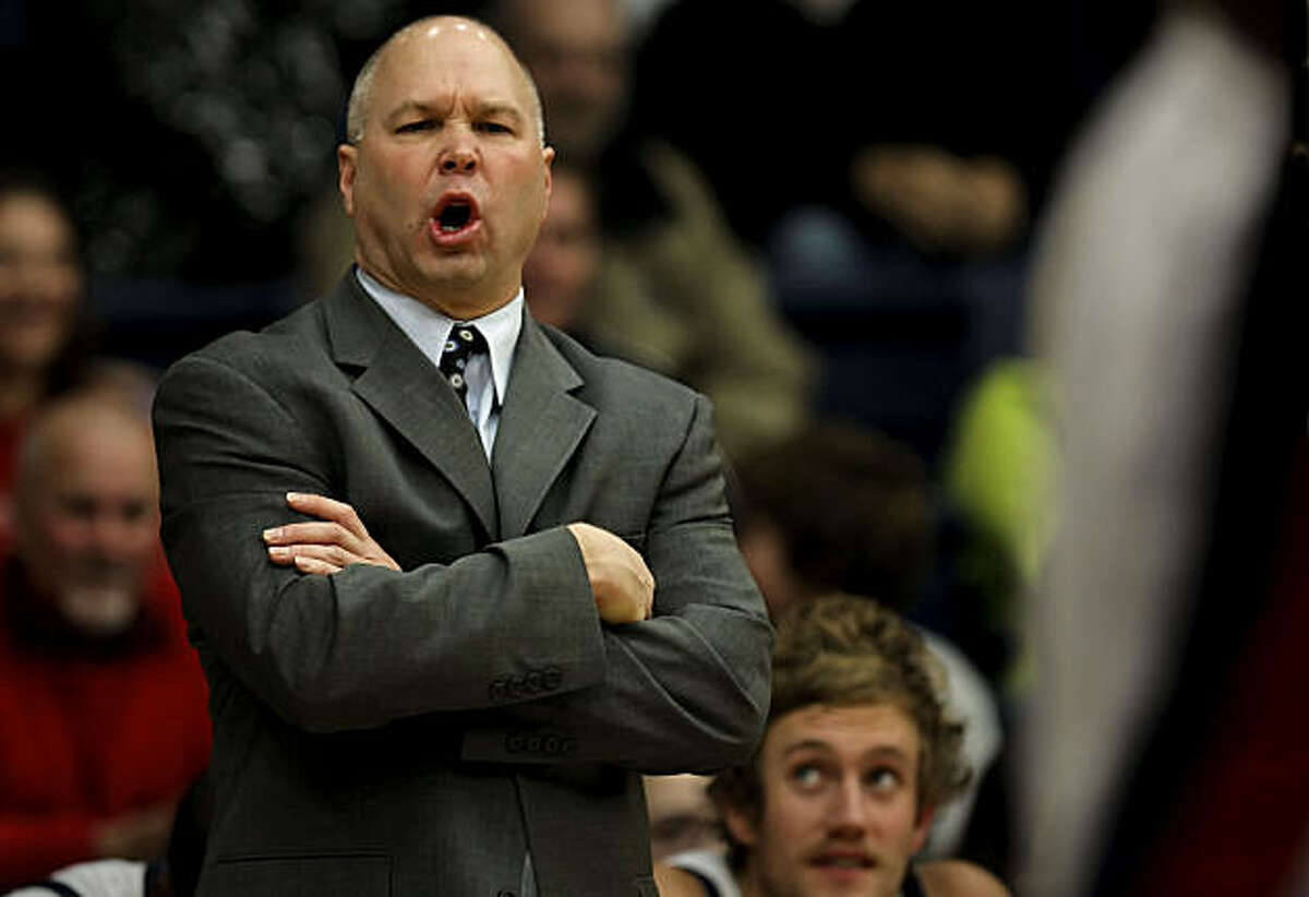 St. Mary's head coach, Randy Bennett talks from the bench during the second half as the St. Mary's Gaels went on to beat the Hartford Hawks 87-63 at McKeon Pavilion in Moraga, Calif. on Friday Dec. 31, 2010.